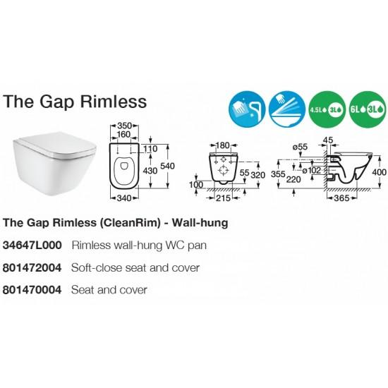 Roca Gap Rimless Wall Hung Toilet