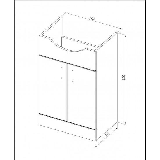 Davies 55cm White Vanity Unit Classic Basin
