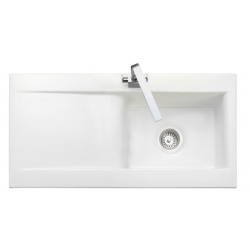 Nevada Single Bowl White Ceramic Kitchen Sink