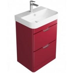 Sott Aqua Gloss Red 48cm Floor Standing Vanity Unit - 2 Drawer