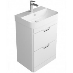 Sott Aqua Gloss White Floor Standing 57cm Vanity Unit -  2 Drawer