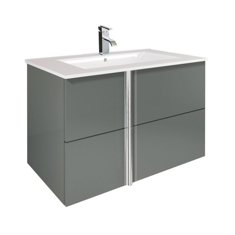 Avila Gloss Grey 80cm Wall Hung Vanity Unit