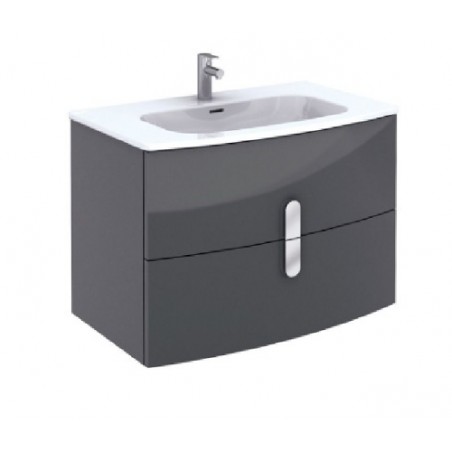 Curve 80cm Gloss Grey Vanity Unit