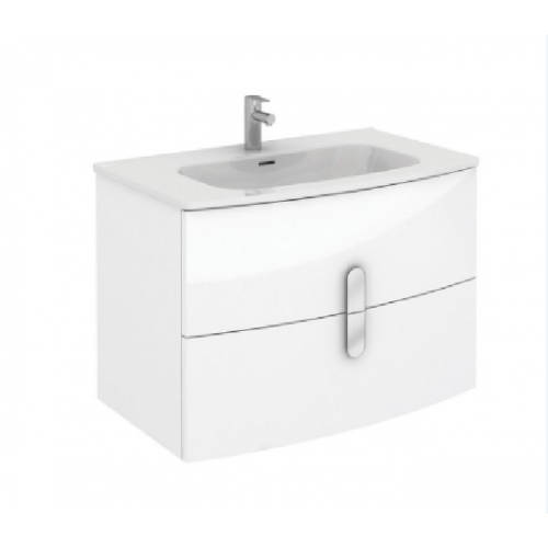 Curve 80cm Gloss White Vanity Unit