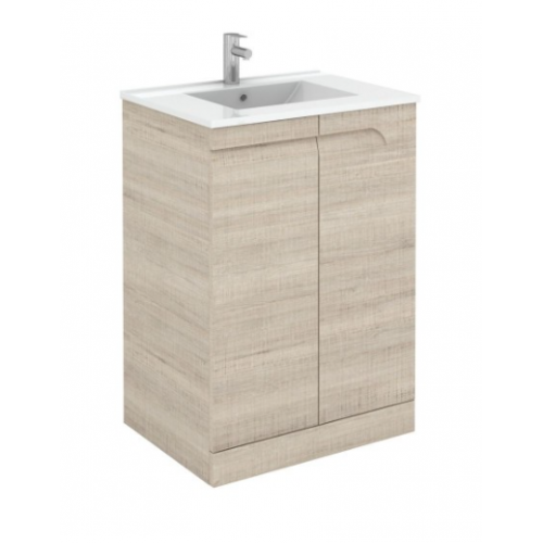 Brava 60cm Maple Floor Standing Vanity Unit & Quartz Tap