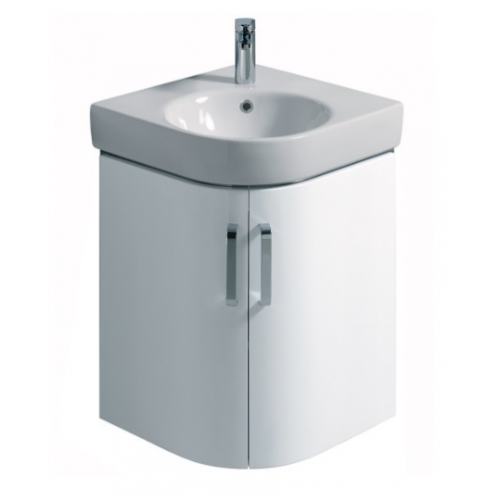 E200 500 White Corner Vanity Unit - Wall Hung