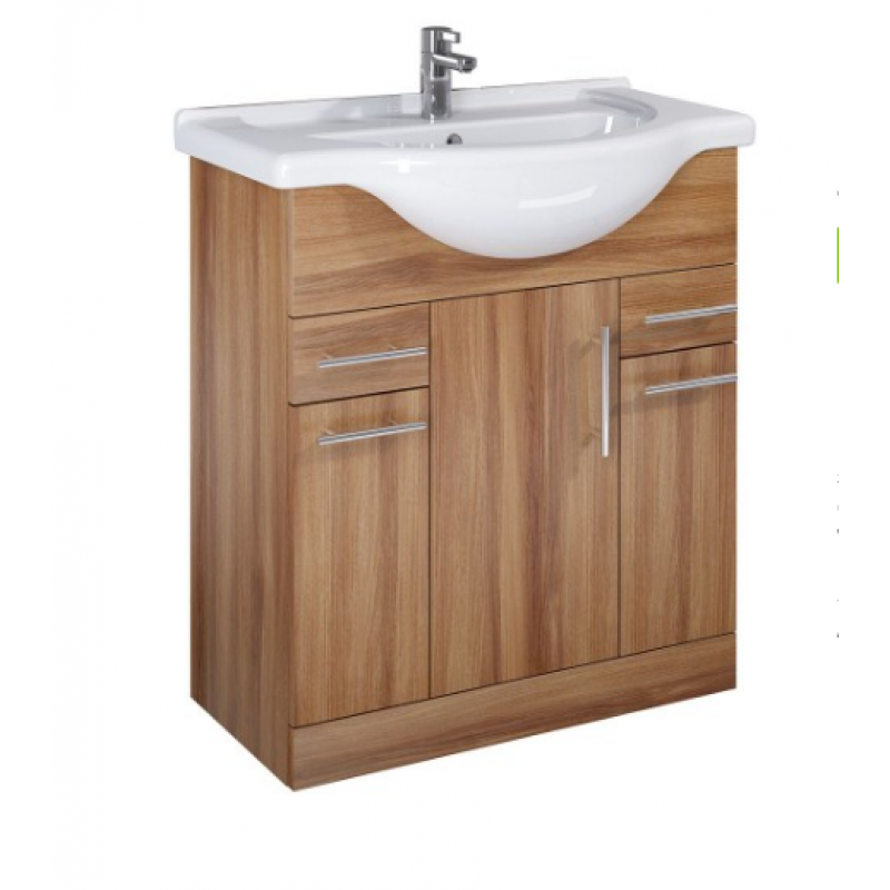 Walnut Vanity Units For Bathroom: Belmont 75cm Walnut Vanity Unit