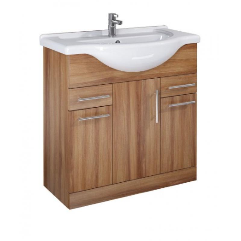 Walnut Vanity Units For Bathroom: Belmont 85cm Walnut Vanity Unit