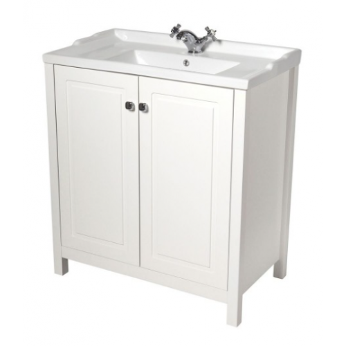 Kingston 80cm Chalk White Vanity Unit & Victoria Basin