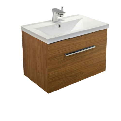 Nova Walnut 50cm Slimline Wall Hung Vanity Unit