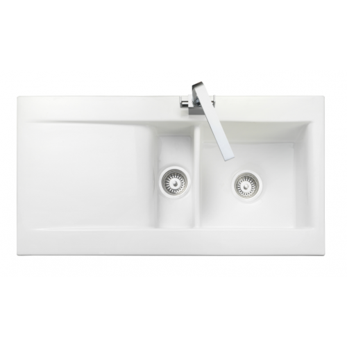 Nevada Bowl & 1/2 White Ceramic Kitchen Sink