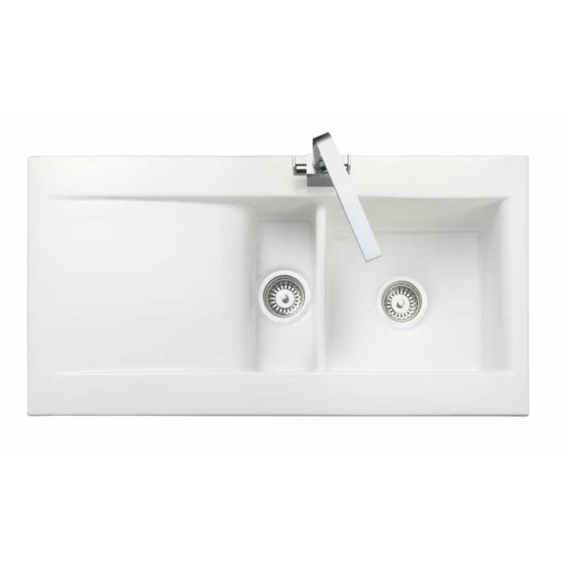 Nevada Bowl & 1/2 White Ceramic Kitchen Sink