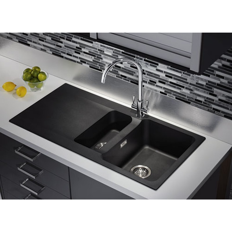 Franke Black Kitchen Sink: Orion Tectonite Carbon Black Bowl & 1/2 Kitchen Sink