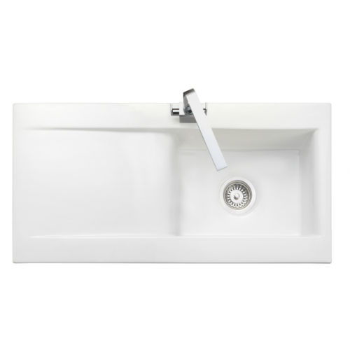 Nevada Single Bowl White Ceramic Kitchen Sink