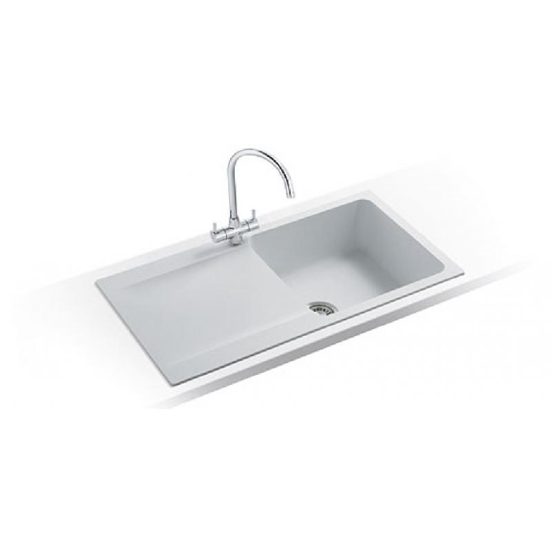 Tectonite Kitchen Sinks : Orion- OID 651 Tectonite Polar White Kitchen Sink Bowl & 1/2