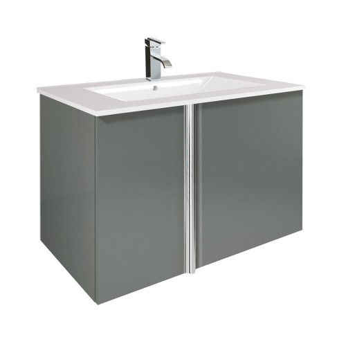 Avila Gloss Grey 80cm Wall Hung Vanity Unit