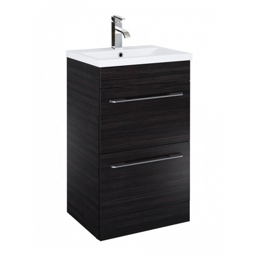 Sonas Cairo 50cm Vanity Unit 2 Drawer Hacienda Black and Basin