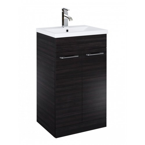 Porto 50cm Slimline Vanity Unit 2 Door Hacienda Black and Basin