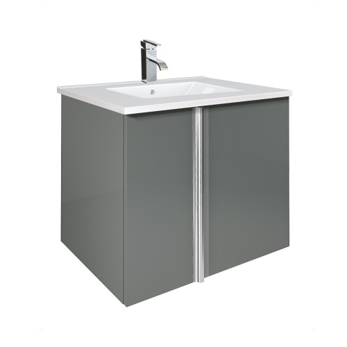 Avila Gloss Grey 60cm Wall Hung Vanity Unit