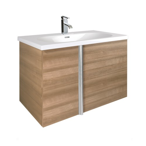 Avila Walnut 80cm Wall Hung Vanity Unit