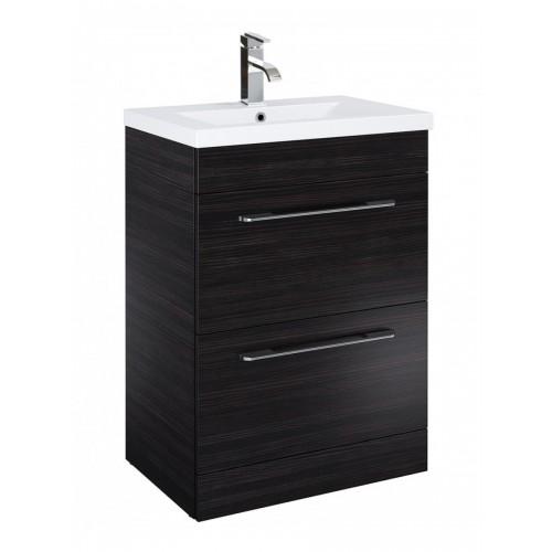 New Sonas Cairo 50cm Vanity Unit 2 Drawer Hacienda Black And Basin