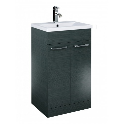 Sonas Porto 50cm Slimline Vanity Unit 2 Door Grey and Basin