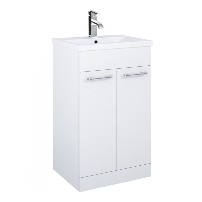 porto 50cm slimline vanity unit 2 door white and basin