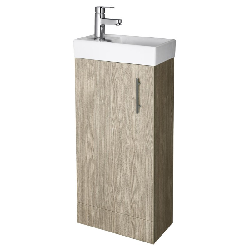 Minimalist floor standing vanity unit light oak rt large for Floor standing bathroom furniture