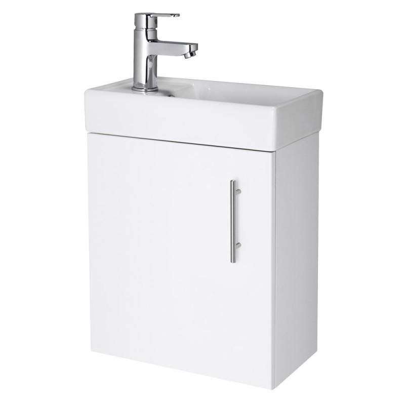 Minimalist Bathroom Vanity: Minimalist Wall Mounted Vanity Unit White-RT Large-Davies