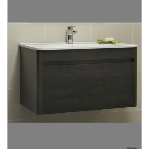 Ella Dark Wood Wall Hung 80cm Vanity Unit