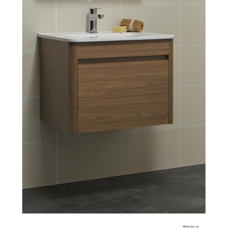 Walnut Vanity Units For Bathroom: Ella Walnut Wall Hung 60cm Vanity Unit