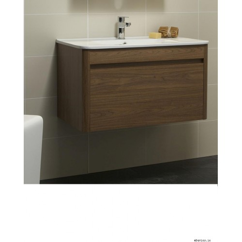 Ella Walnut Wall Hung 80cm Vanity Unit