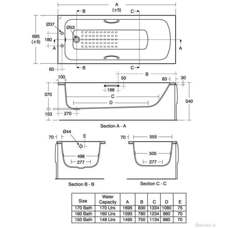 Sandringham 21 Bath 1500mmX700mm Bath c/w Grips-Ideal Standard-Davies